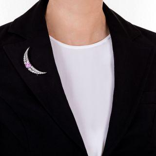 Victorian Fancy Sapphire and Diamond Crescent Pin