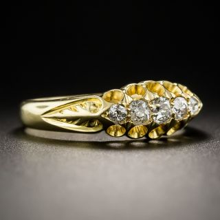 Victorian Five-Stone Diamond Carved Ring