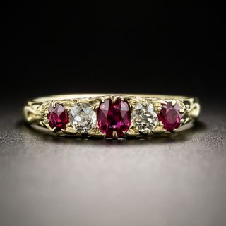 Victorian Five-Stone Ruby and Diamond Ring - 2