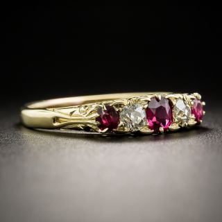 Victorian Five-Stone Ruby and Diamond Ring