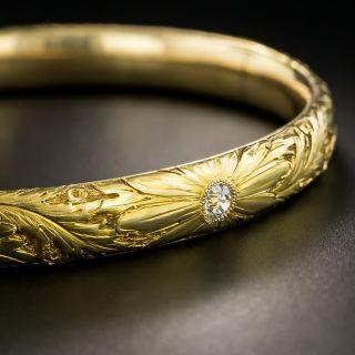 Victorian Floral Motif Diamond Bangle Bracelet - 2