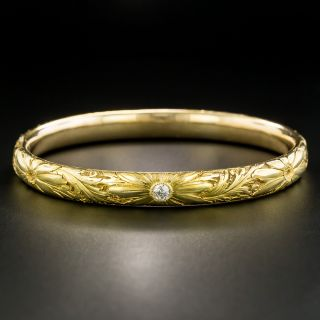 Victorian Floral Motif Diamond Bangle Bracelet