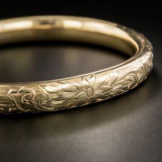 Victorian Floral Motif Engraved Bangle Bracelet - 2