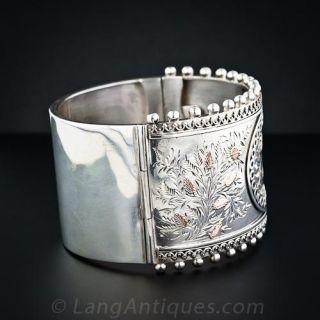 Victorian Floral Motif Silver Bangle Bracelet