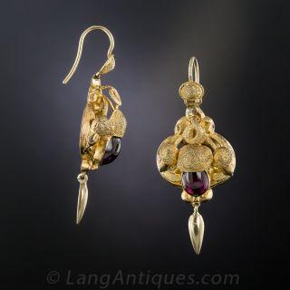 Victorian Garnet Acorn Earrings