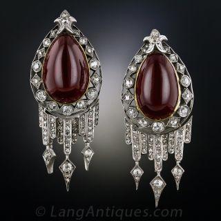 Victorian Garnet and Diamond Drop Earrings - 1
