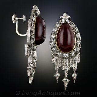 Victorian Garnet and Diamond Drop Earrings