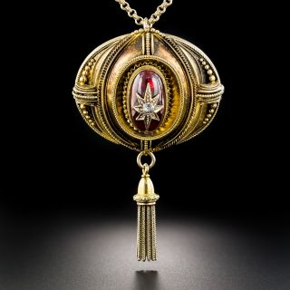 Victorian Garnet and Diamond Tassel Pendant - 1