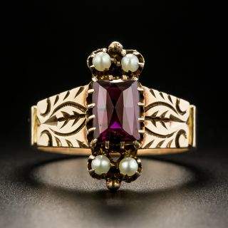 Victorian Garnet and Pearl Ring - 2