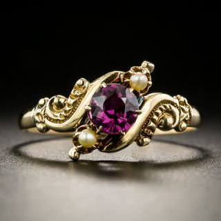 Victorian Garnet and Seed Pearl Ring by Allsopp Steller - 2