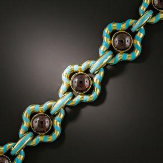 Victorian Garnet and Turquoise Enamel Bracelet - 1