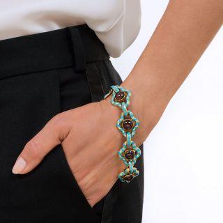Victorian Garnet and Turquoise Enamel Bracelet