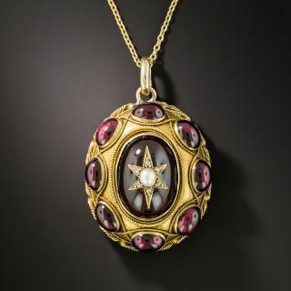 Victorian Garnet, Pearl and Diamond Locket Pendant - 2