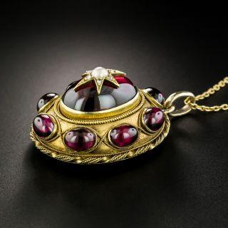 Victorian Garnet Natural Pearl Diamond Pendant Locket
