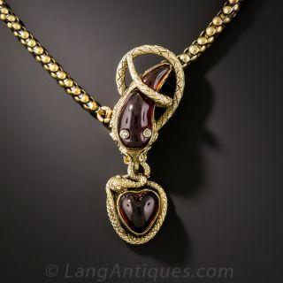 Victorian Garnet Snake Choker Necklace - 1