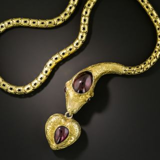 Victorian Garnet Snake Necklace with Heart