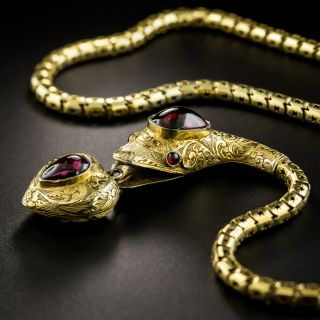 Victorian Garnet Snake Necklace with Heart - 4