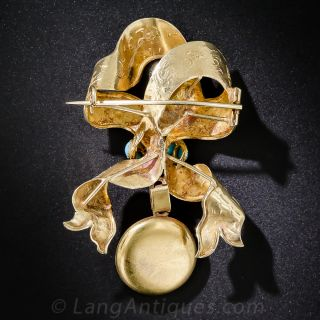 Victorian Gold and Turquoise Bow Brooch With Locket