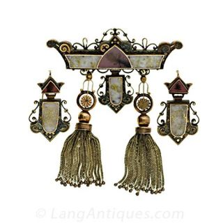 Victorian Earrings and Matching Brooch - 1