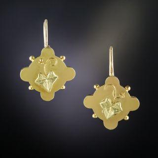 Victorian Gold Leaf  Motif Earrings - 2