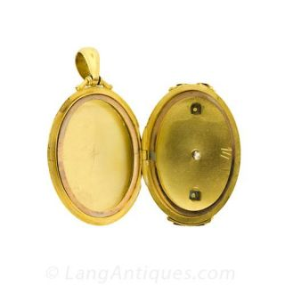 Victorian Gold Locket with Diamond