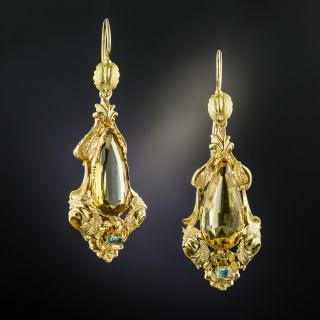Victorian Golden Citrine and Glass Dangle Earrings - 3