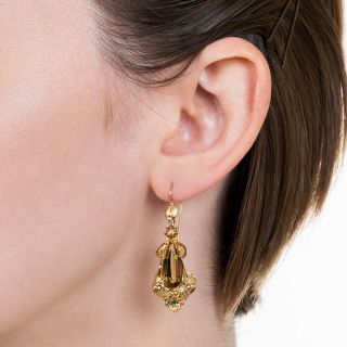 Victorian Golden Citrine and Glass Dangle Earrings