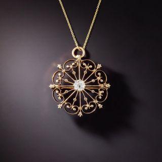 Victorian Golden Snowflake Diamond Pendant/Brooch - 1