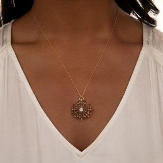 Victorian Golden Snowflake Diamond Pendant/Brooch