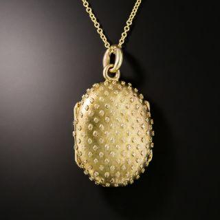 Victorian Granulated Gold Locket  - 2