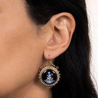 Victorian Grisaille Enamel Cherub Pearl Earrings