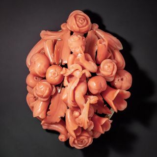 Victorian Hand-Carved Coral Cherub Brooch - 0