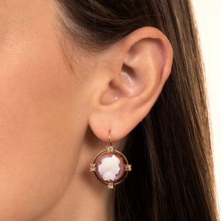 Victorian Hard Stone Cameo And Diamond Earrings