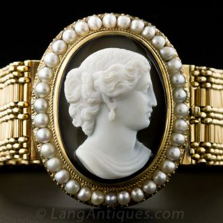 Victorian Hard Stone Cameo and Pearl Bracelet - 1