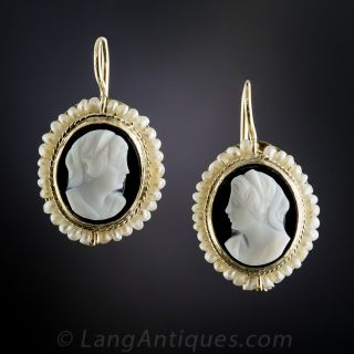 Victorian Hard Stone Cameo and Seed Pearl Earrings - 1