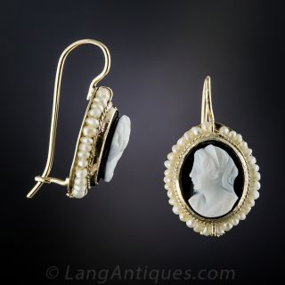 Victorian Hard Stone Cameo and Seed Pearl Earrings