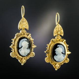 Victorian Hard Stone Cameo Drop Earrings - 3