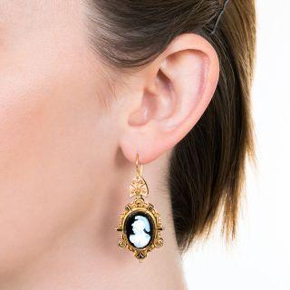Victorian Hard Stone Cameo Drop Earrings