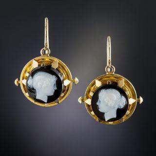 Victorian Hard Stone Cameo Earrings