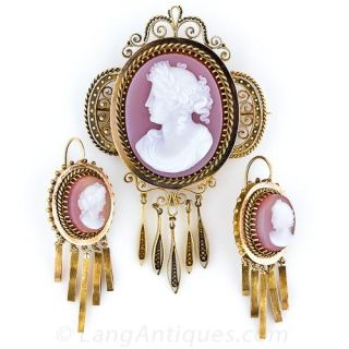 Victorian Hardstone Cameo Brooch and Earring Set