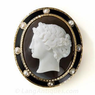 Victorian Hardstone Cameo Brooch with Enamel and Pearl Frame