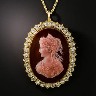 Victorian Hardstone Cameo Diamond Necklace / Brooch - 2