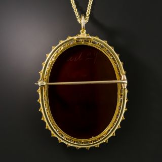 Victorian Hardstone Cameo Diamond Necklace / Brooch