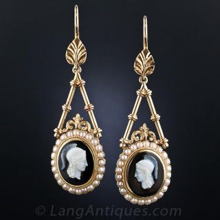 Victorian Hardstone Cameo Drop Earrings - 1