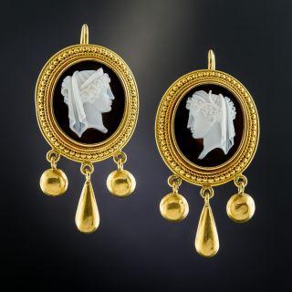 Victorian Hardstone Cameo Earrings - 1