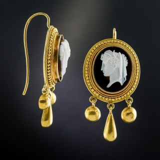 Victorian Hardstone Cameo Earrings