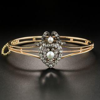 Victorian Heart-Motif Natural Pearl and Diamond Bangle Bracelet/Pendant - 2