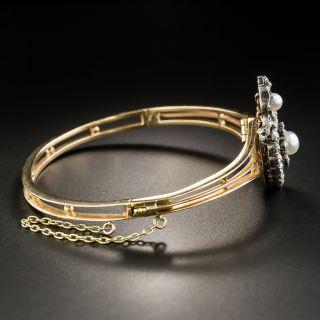 Victorian Heart-Motif Natural Pearl and Diamond Bangle Bracelet/Pendant