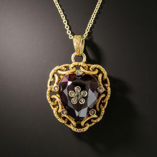 Victorian Heart-Shaped Garnet Diamond Locket - 2
