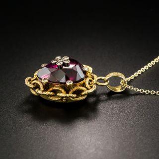 Victorian Heart-Shaped Garnet Diamond Locket